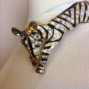 Vintage  Zebra Rhinestone Gold Shoulder Brooch